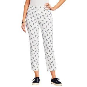 Talbots Perfect Crop Curvy Pineapple Print Pants